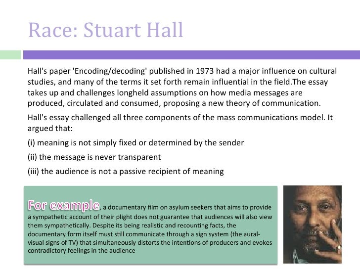stuart halls encoding and decoding essay The first article i will be summarizing by stuart hall  and therefore not compatible with halls  in this essay, stuart hall has applied.