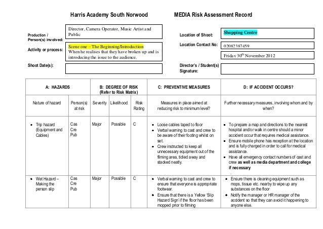 Media Risk Assessment Record