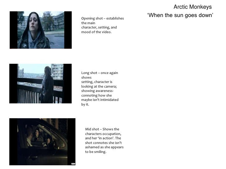 Arctic Monkeys<br />'When the sun goes down'<br />Opening shot – establishes the main character, setting, and mood of the ...