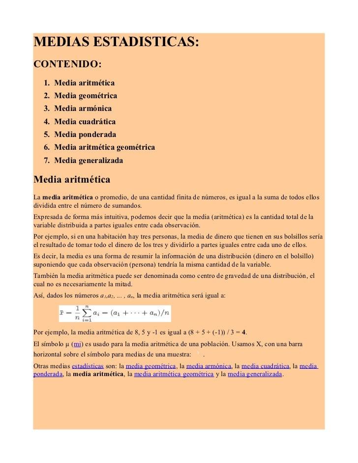 Concepto de estadistica llamado media aritmetica