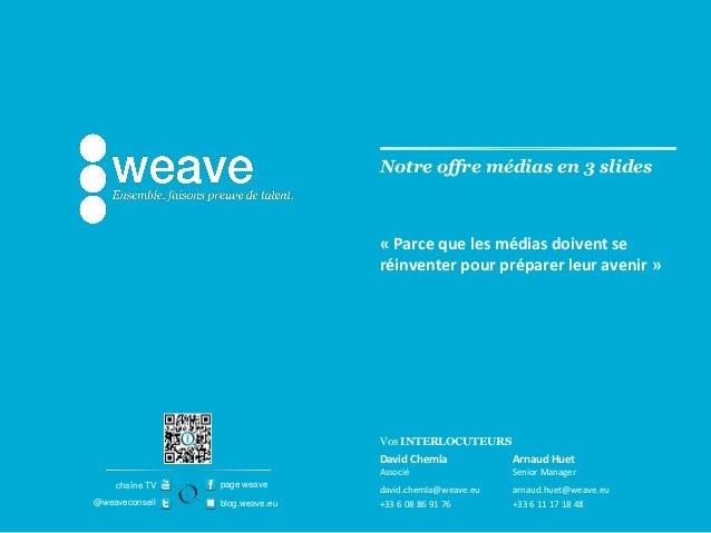 Vos INTERLOCUTEURSpage weaveblog.weave.eu@weaveconseilchaîne TVNotre offre médias en 3 slidesDavid ChemlaAssociédavid.chem...