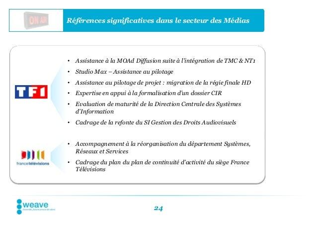 Références significatives dans le secteur des Médias•   Assistance à la MOAd Diffusion suite à l'intégration de TMC & NT1•...