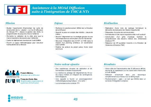 Assistance à la MOAd Diffusion                                      suite à l'intégration de TMC & NT1Mission             ...