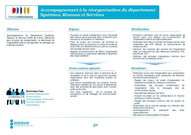 Accompagnement à la réorganisation du département                                     Systèmes, Réseaux et ServicesMission...