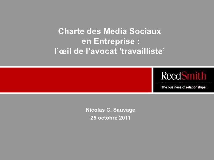 Nicolas SAUVAGE - REEDSMITH - Conference Media Aces - Octobre 2011