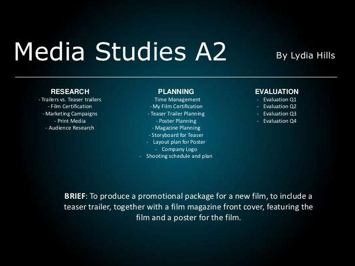 Media Studies A2                                                            By Lydia Hills      RESEARCH                  ...