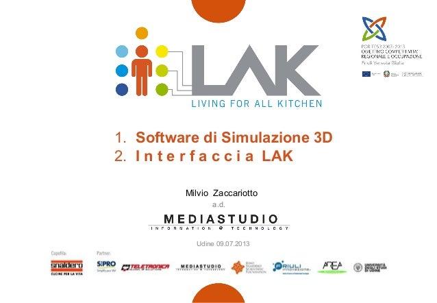 1. Software di Simulazione 3D 2. I n t e r f a c c i a LAK Milvio Zaccariotto a.d. Udine 09.07.2013