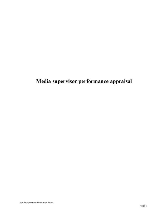 Media supervisor performance appraisal Job Performance Evaluation Form Page 1