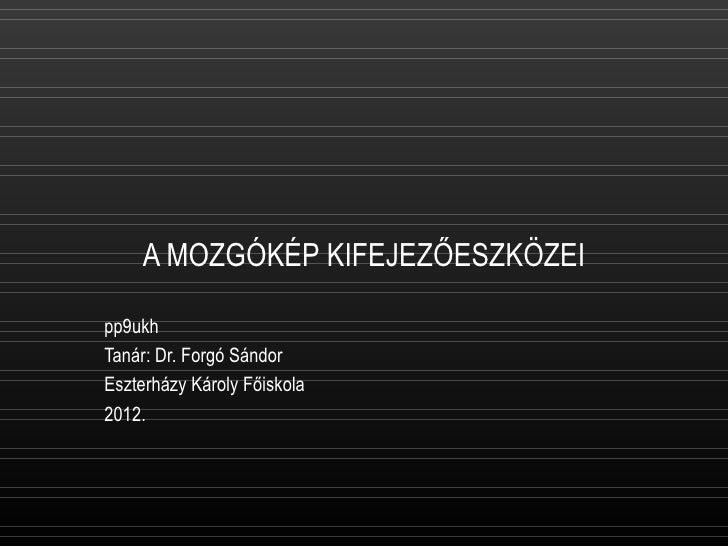 A MOZGÓKÉP KIFEJEZŐESZKÖZEIpp9ukhTanár: Dr. Forgó SándorEszterházy Károly Főiskola2012.