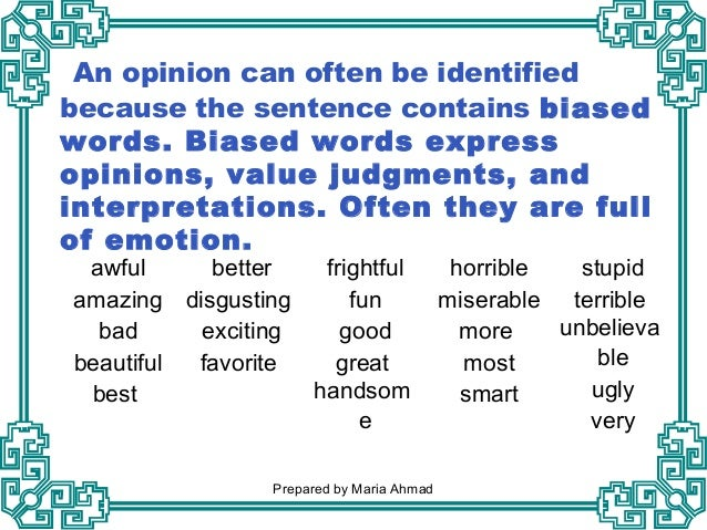 An analysis of the topic of the biased judgement
