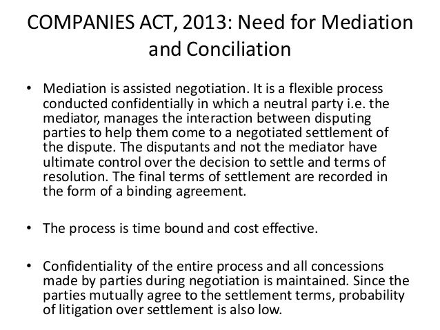 Mediation And Conciliation And Panies Acts 2013 NCLT