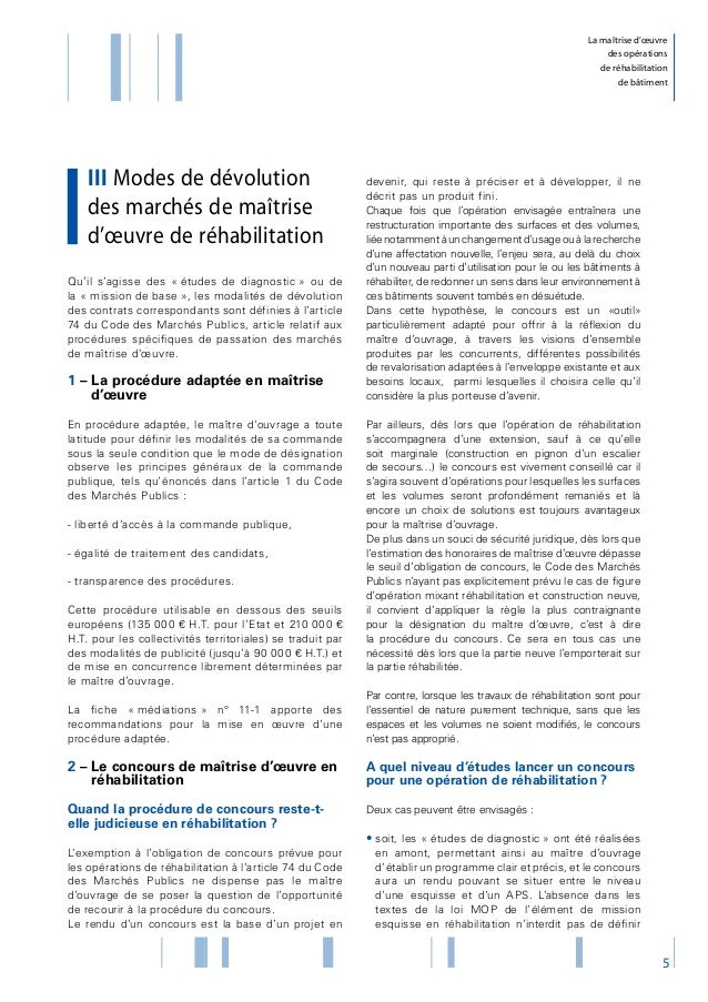 La Maitrise D Oeuvre Des Operations De Rehabilitation De Batiment