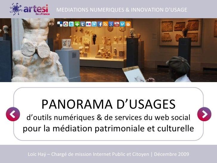 PANORAMA D'USAGES d'outils numériques & de services du web social pour la médiation patrimoniale et culturelle MEDIATIONS ...