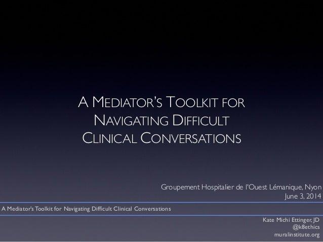 A MEDIATOR'S TOOLKIT FOR NAVIGATING DIFFICULT CLINICAL CONVERSATIONS Groupement Hospitalier de l'Ouest Lémanique, Nyon Jun...