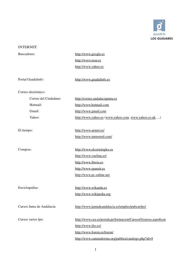 LOS GUÁJARES  INTERNET: Buscadores:                       http://www.google.es                                   http://ww...