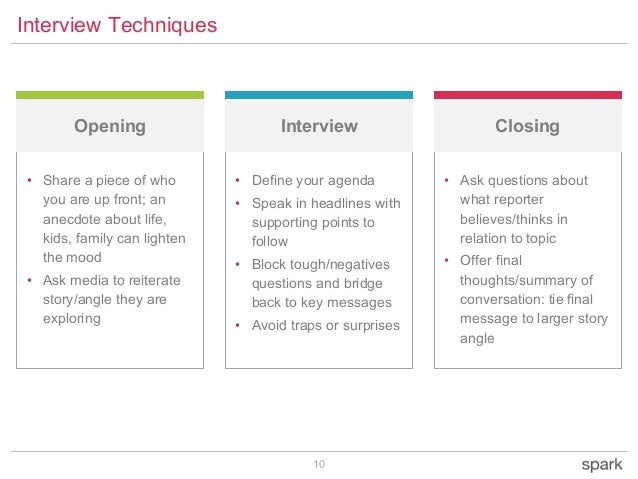 10 Interview Techniques Opening ClosingInterview • Share a piece of who you are up front; an anecdote about life, kids, fa...