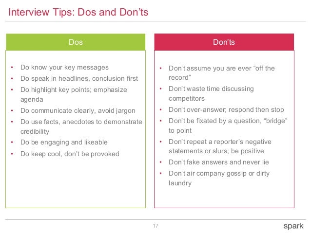 17 Don'tsDos DO'S • Do know your key messages • Do speak in headlines, conclusion first • Do highlight key points; emphasi...