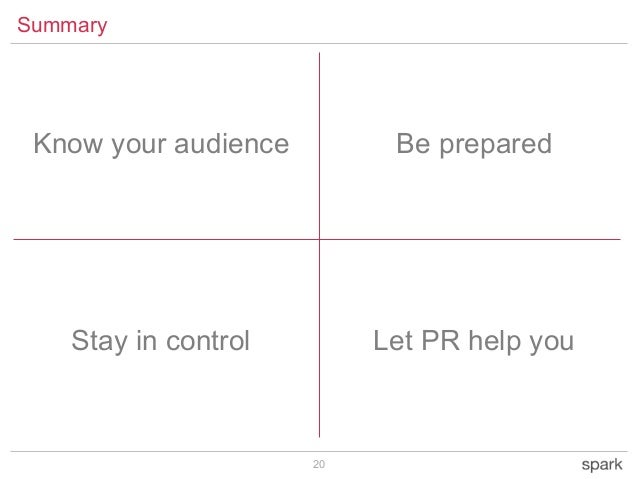 20 Summary Be prepared Stay in control Let PR help you Know your audience