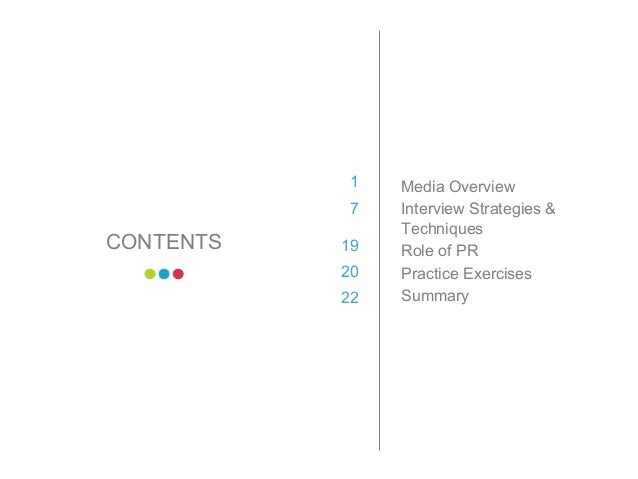3 CONTENTS 1 7 19 20 22 Media Overview Interview Strategies & Techniques Role of PR Practice Exercises Summary