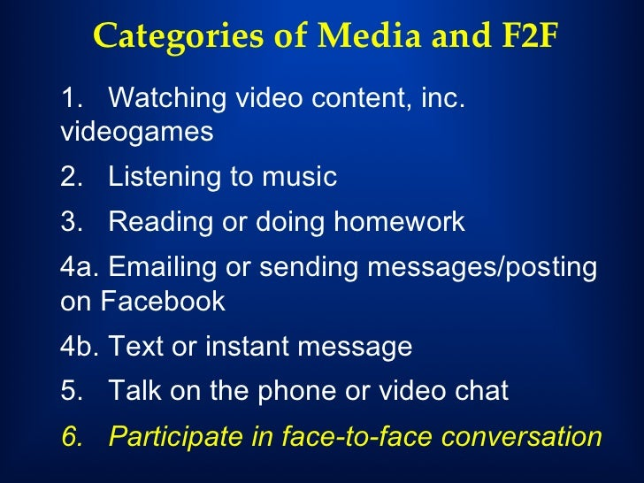 media use face to face communication media Most teens prefer face-to-face communication, and many of them think using social media can interfere with that despite being avid social media users, talking to each other in person is still teens' favorite way to communicate.