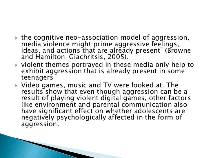 aggression and violence in the media Multiple studies have shown a strong association, and suspicion or suggestion of causality between exposure to violence in the media, and aggressive or violent behavior in viewers.