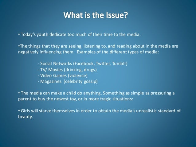 the influence of media violence Media violence only has the intent to entertain and persuade, not to inform that an individual should not conduct themselves in the manner of any individuals that are a part of the media violence portrayal.