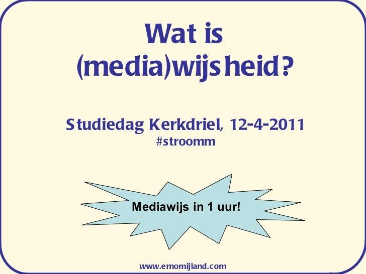 Wat is (media)wijsheid? Studiedag Kerkdriel, 12-4-2011 #stroomm www.ernomijland.com Mediawijs in 1 uur!
