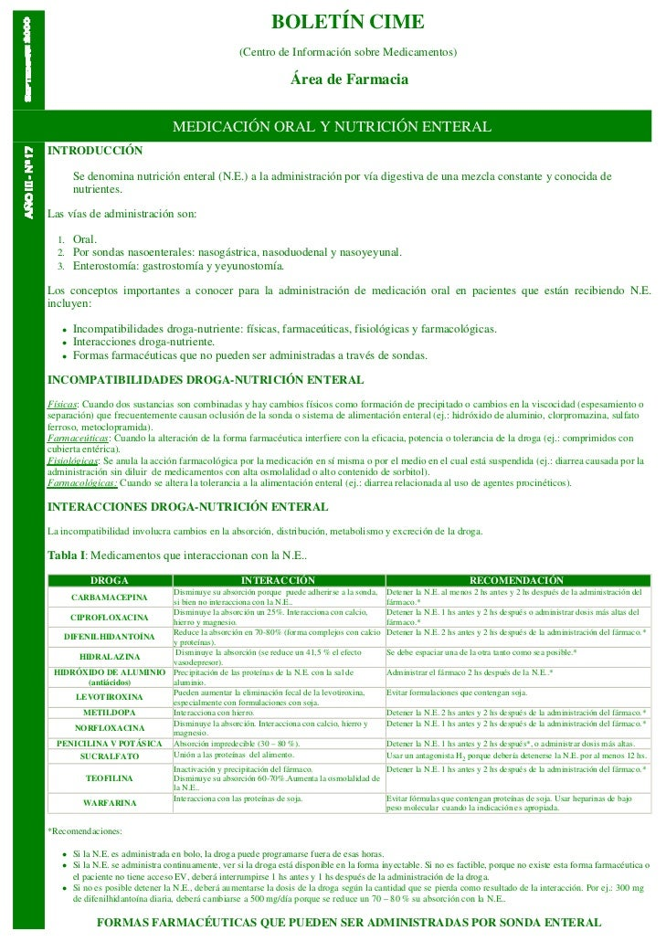 BOLETÍN CIME                                                   (Centro de Información sobre Medicamentos)                 ...