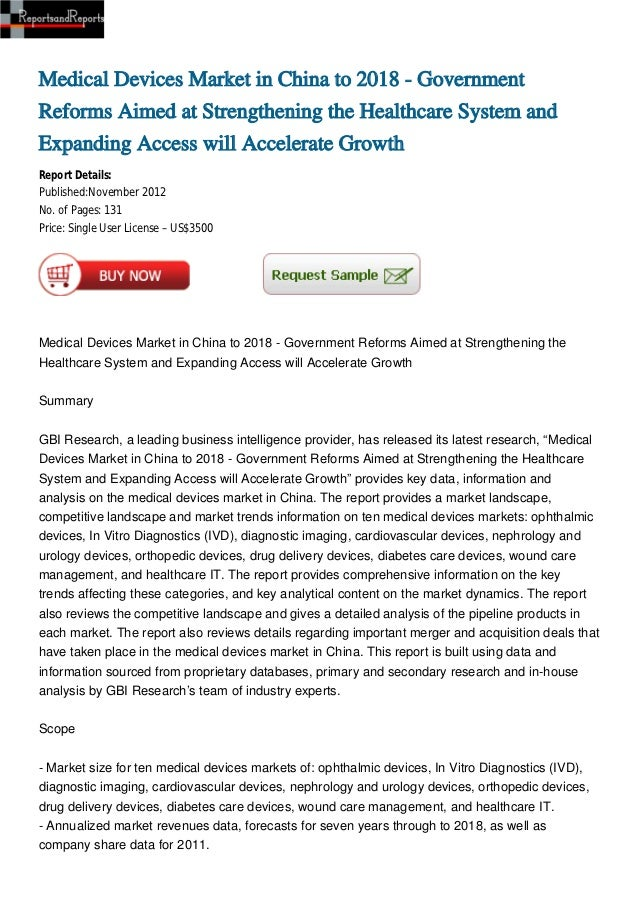Medical Devices Market in China to 2018 - GovernmentReforms Aimed at Strengthening the Healthcare System andExpanding Acce...