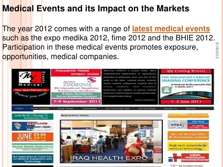 Medical Events and its Impact on the MarketsThe year 2012 comes with a range of latest medical eventssuch as the expo medi...