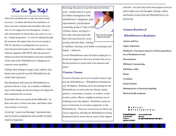Medical  Whistleblower  Brochures 3     Advice To  Whistleblower  Supporters Slide 2