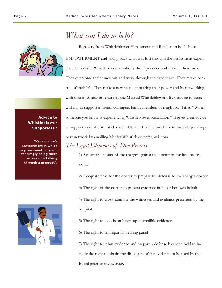 Medical  Whistleblower  Canary  Notes  Newsletter 1  Due  Process   January 2006  Vol 1  Issue 1 Slide 2