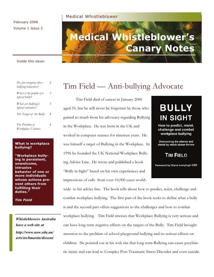 Medical Whistleblower February 2006 Volume 1 Issue 2                                      Medical Whistleblower's         ...