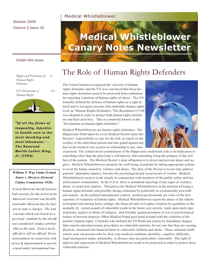 Medical Whistleblower  October 2008  Volume 3 Issue 10                                                 Medical Whistleblow...