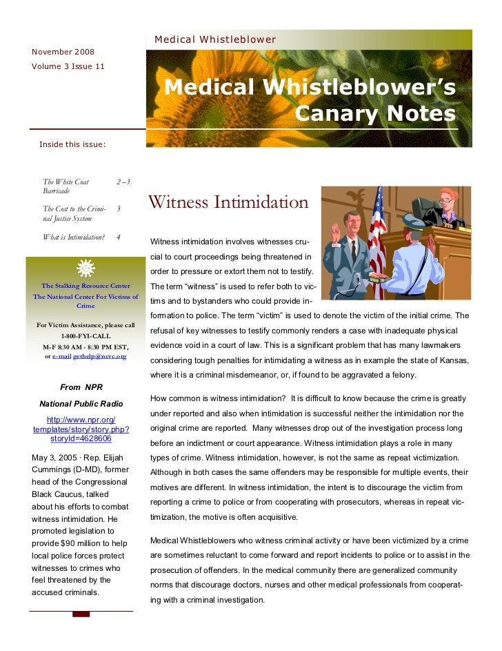 Medical Whistleblower November 2008 Volume 3 Issue 11                                            Medical Whistleblower's  ...