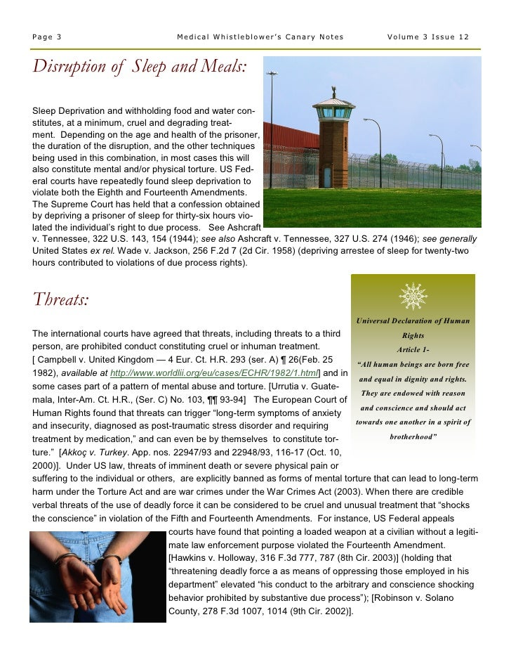 Medical  Whistleblower  Canary  Notes  Newsletter 38  Torture  Dec. 2008  Vol. 3  Issue 12 Slide 3