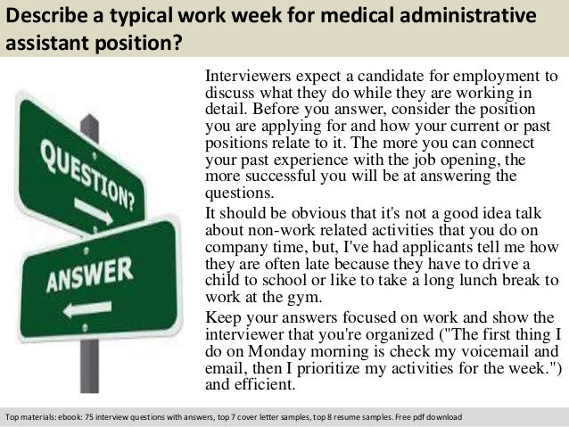 free pdf download 3 describe a typical work week for medical administrative assistant - Medical Assistant Interview Questions And Answers