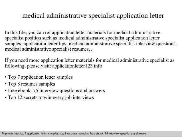 Medical administrative specialist application letter