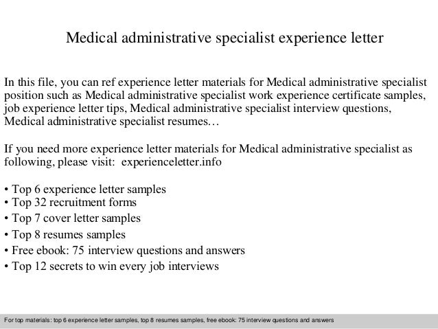 medical administrative specialist experience letter in this file you can ref experience letter materials for experience letter sample