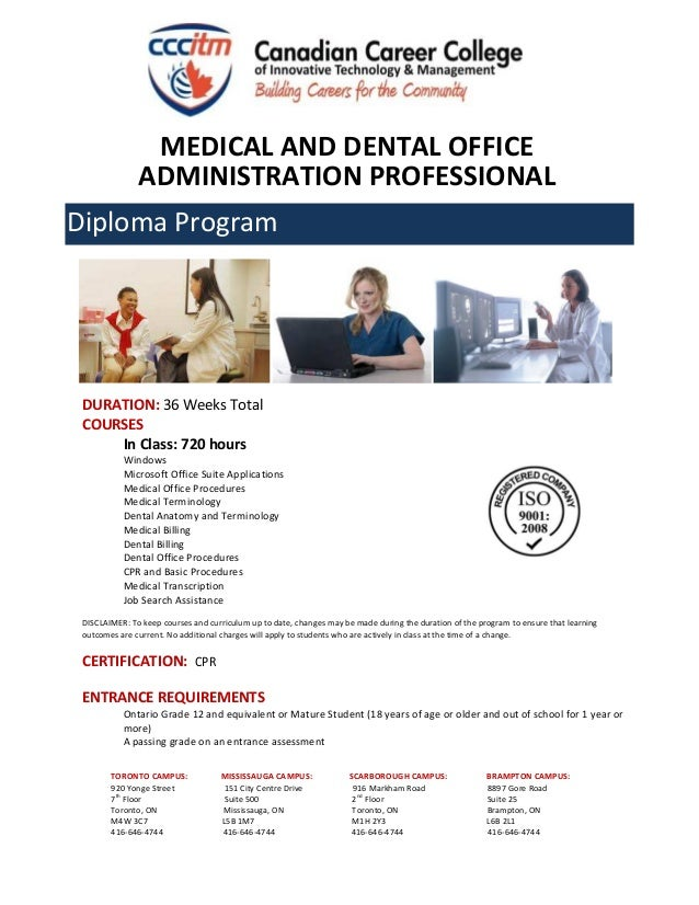 Canadian Career College Medical And Dental Office Administration Prof