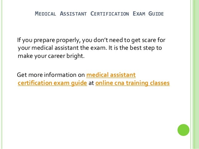 Certified Medical Assistant Online Study Guide - All ...