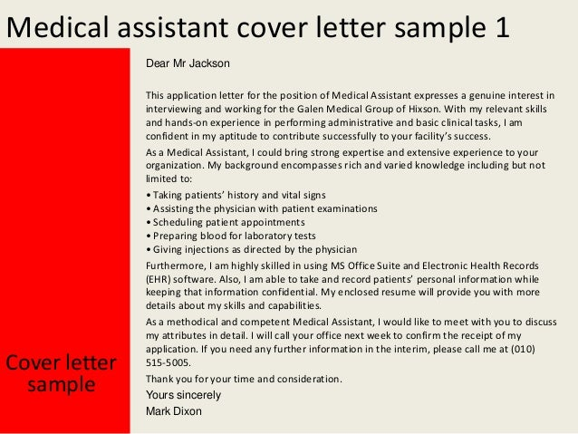 Cover letter for medical assistant resume