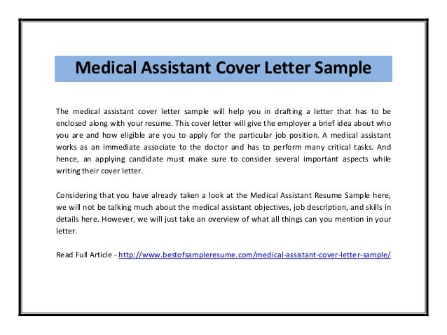 medical office assistant internship cover letter Write your medical assistant cover letter externship for a job in clinical or educational institutions the sample below helps in preparing the best externship cover letter.