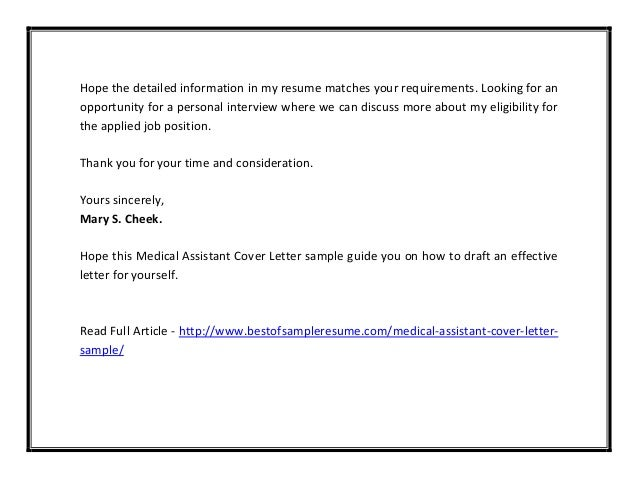 6 - Cover Letter Sample For Medical Assistant