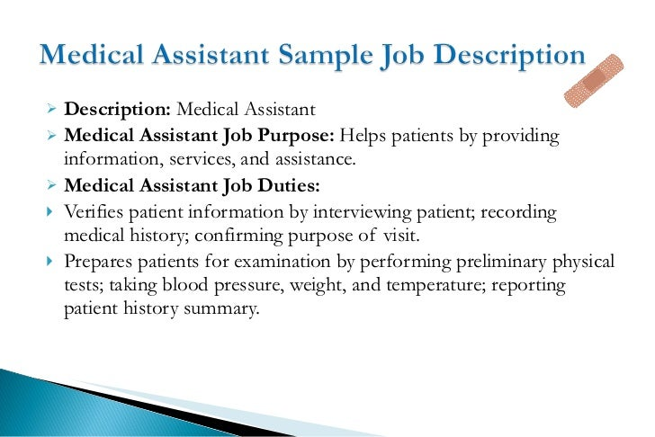 description of medical assistant duties