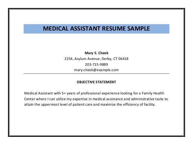 MEDICAL ASSISTANT RESUME SAMPLE ...  Medical Assistant Resume Samples