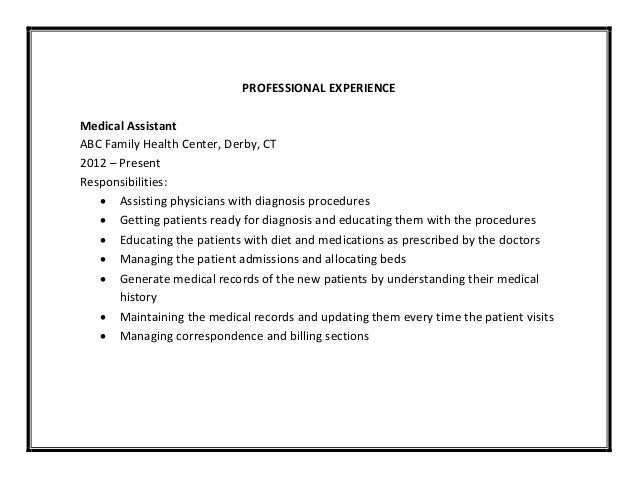 Medical assistant resume sample pdf