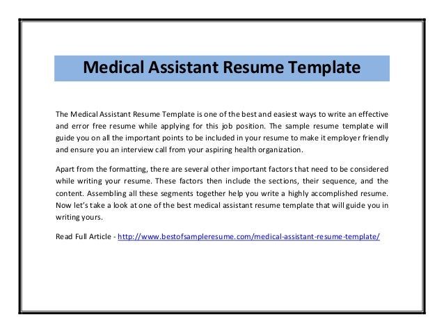 Free Certified Medical Assistant Resume Samples Templates Sample