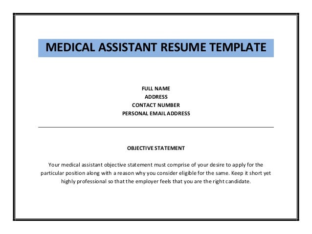 Resume Objective Statement Examples Medical Assistant