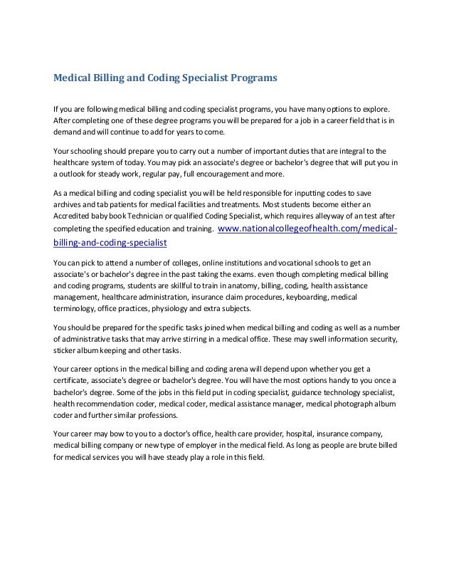 Medical billing and coding specialist programs